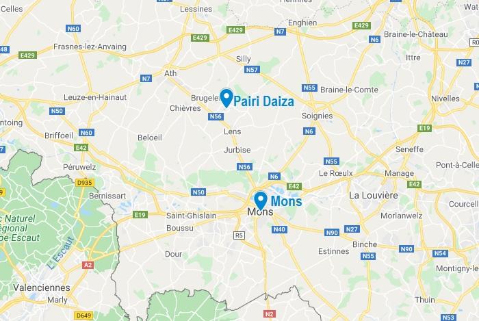 Carte de Pairi Daiza près de Mons