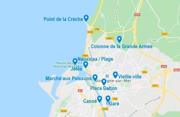 Carte de points d'intérêt à visiter à Boulogne sur Mer