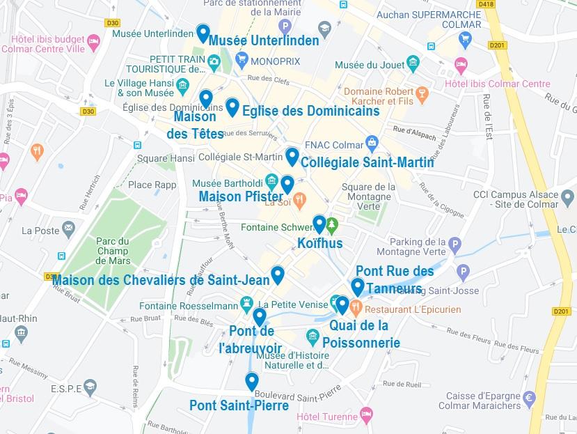 Carte de points d'intérêt pour visiter Colmar