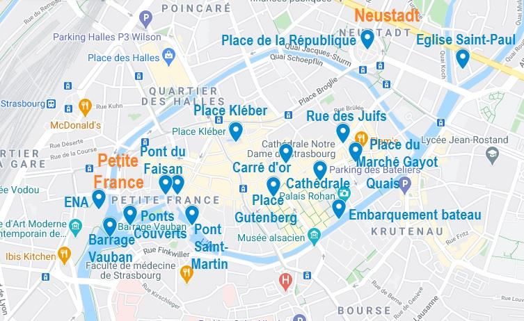 Carte de points d'intérêt à visiter à Strasbourg