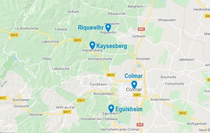 Carte de villages à visiter dans les alentours de Colmar