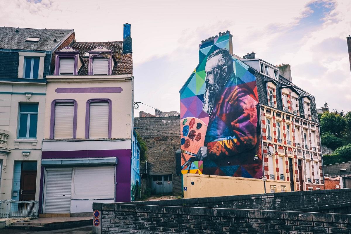 Street-art sur une façade à Boulogne sur Mer