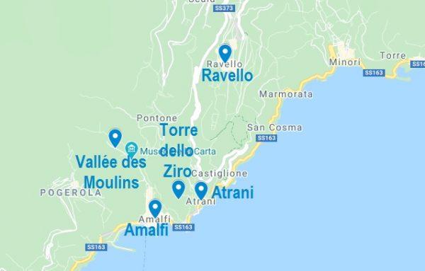 Carte de points d'intérêt à visiter dans les alentours d'Amalfi