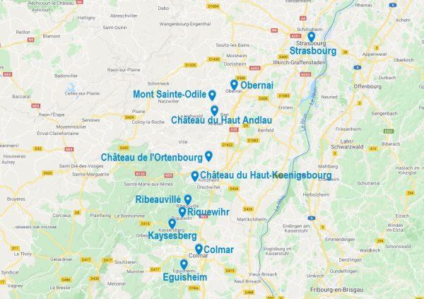 Carte de points d'intérêt pour visiter l'Alsace