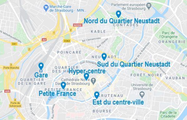Carte de quartiers pour choisir son Airbnb à Strasbourg