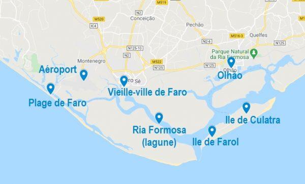 Carte de lieux à connaître pour les Airbnb à Faro