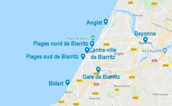 Carte des lieux pour les Airbnb à Biarritz et ses alentours