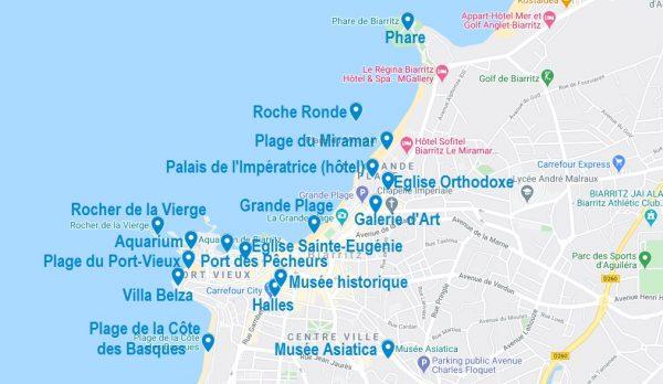 Carte de points d'intérêt pour visiter Biarritz