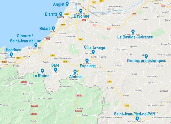 Carte de points d'intérêt à visiter au Pays Basque
