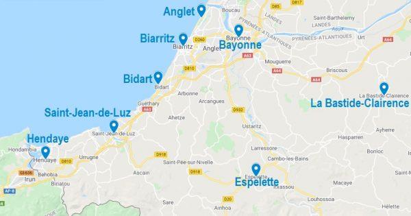 Carte de lieux où dormir au Pays Basque