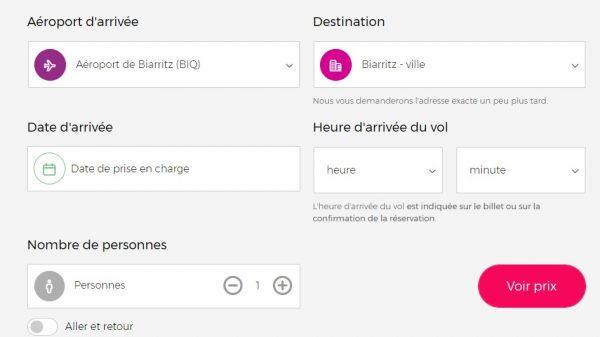 Interface de réservation d'un chauffeur à l'aéroport de Biarritz
