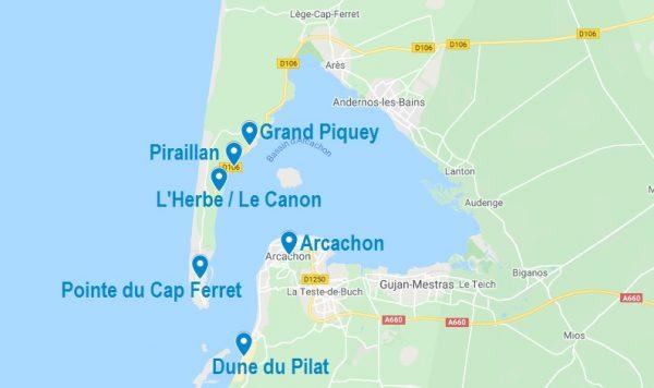Carte de lieux à cibler un Airbnb au Cap Ferret