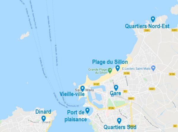 Carte de quartiers où choisir son Airbnb à Saint-Malo
