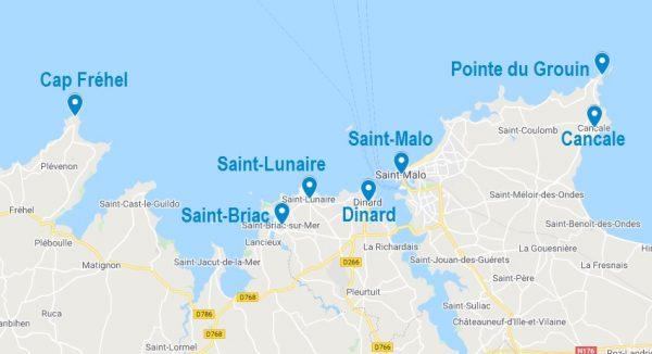 Carte de lieux où dormir sur la Côte d'Emeraude