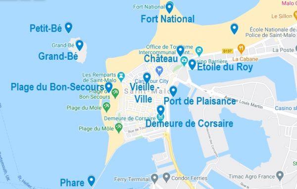 Carte de points d'intérêt à visiter à Saint-Malo