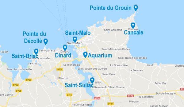 Carte de points d'intérêt à visiter dans les alentours de Saint-Malo