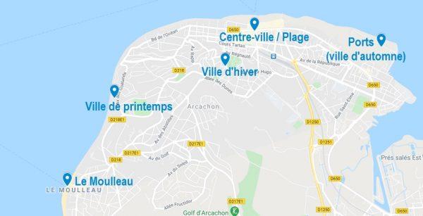 Quartiers pour cibler un Airbnb à Arcachon
