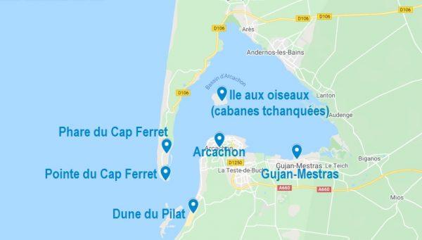Carte de points d'intérêt pour visiter Arcachon et ses alentours