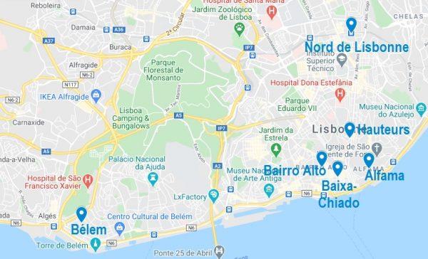 Principaux quartiers pour choisir un Airbnb à Lisbonne