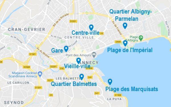 Carte de quartiers où choisir son Airbnb à Annecy