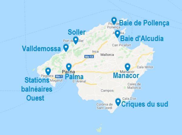 Carte de localisations pour choisir son Airbnb à Majorque