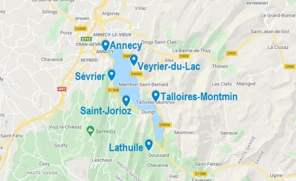 Carte de lieux où dormir autour du lac d'Annecy