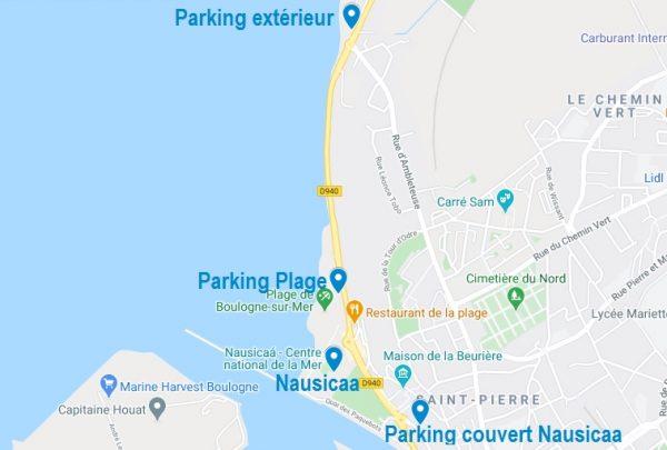 Carte de parkings pour visiter Nausicaa