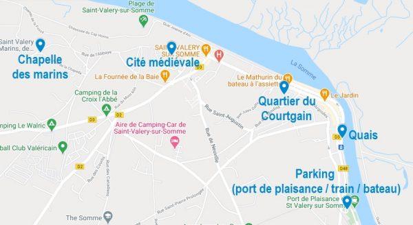 Carte des quartiers pour visiter Saint Valery sur Somme