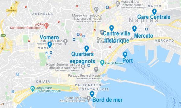 Carte de quartiers où dormir à Naples