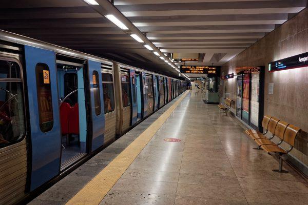 Dans le métro à Lisbonne