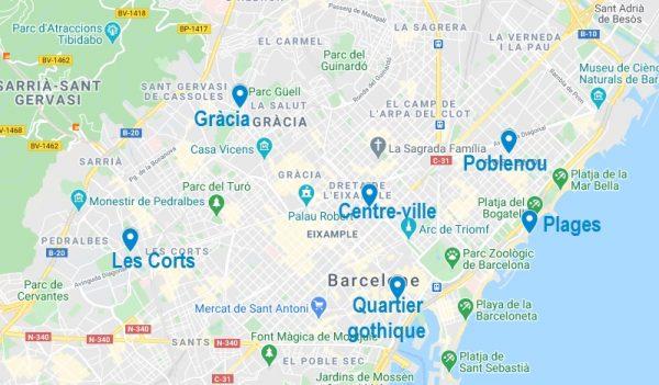 Carte de quartiers où dormir à Barcelone