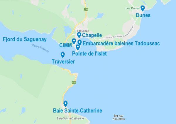 Carte de points d'intérêt à visiter à Tadoussac