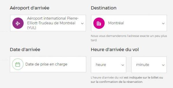 Interface de réservation d'un chauffeur privé à l'aéroport de Montreal