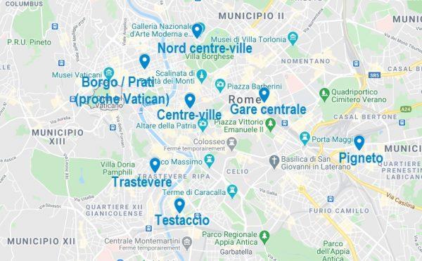 Carte de quartiers où choisir son Airbnb à Rome