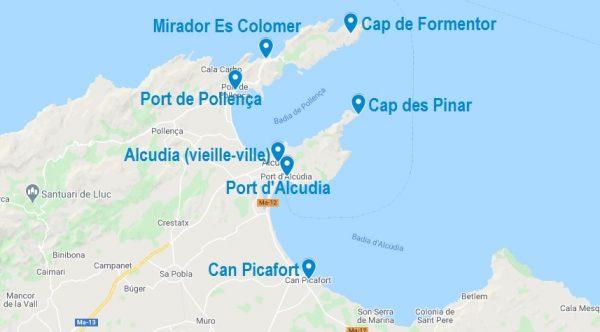 Carte de points d'intérêt dans la baie d'Alcudia à Majorque et ses alentours