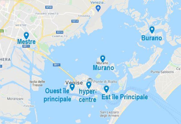 Carte de quartiers où dormir à Venise