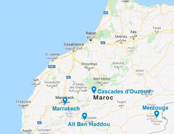 Carte des points d'intérêt au sud du Maroc, en excursion au départ de Marrakech