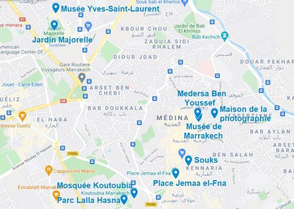 Carte de points d'intérêt pour visiter Marrakech