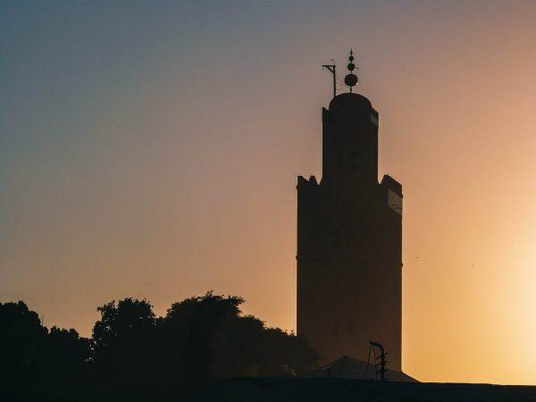 Coucher de soleil sur la mosquée Koutoubia de Marrakech