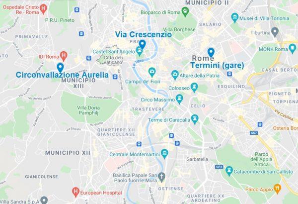 Arrêts de la navette entre l'aéroport de Fiumicino et Rome