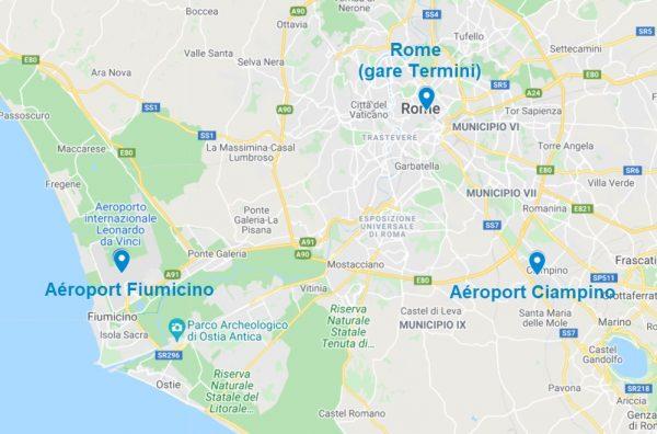 Carte des aéroports à Rome