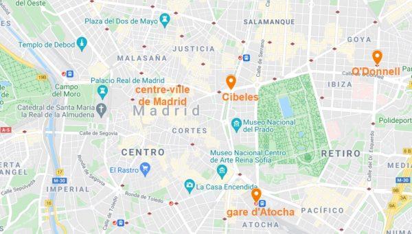 Arrêts de la navette qui relie l'aéroport de Madrid au centre-ville