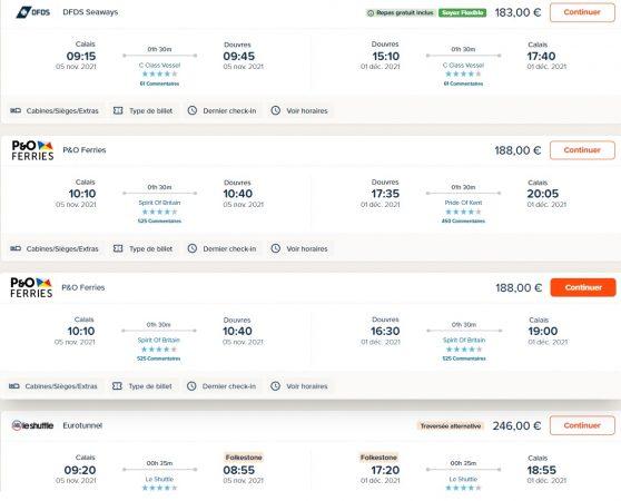 Exemple de comparatif de prix pour le ferry pour l'Angleterre