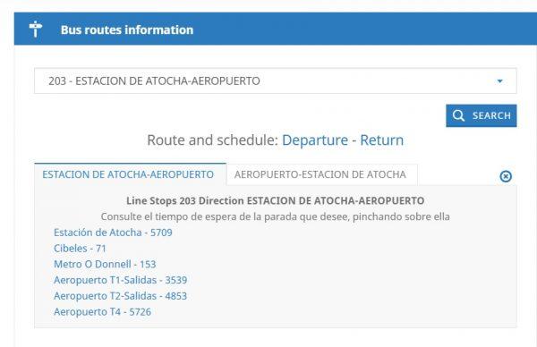 Informations sur la navette de l'aéroport de Madrid